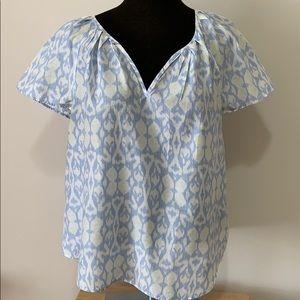Gap blue print flounce short sleeve top size XL
